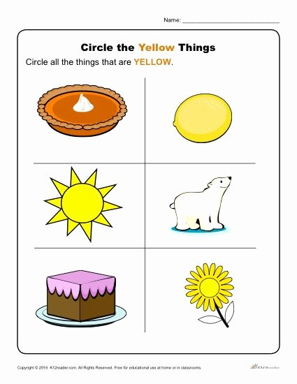 Color Yellow Worksheets for Preschoolers New Circle the Yellow Things