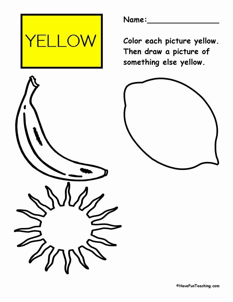Color Yellow Worksheets for Preschoolers New Coloring Yellow Worksheet