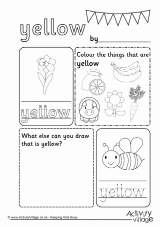 Color Yellow Worksheets for Preschoolers Unique Colour Worksheets
