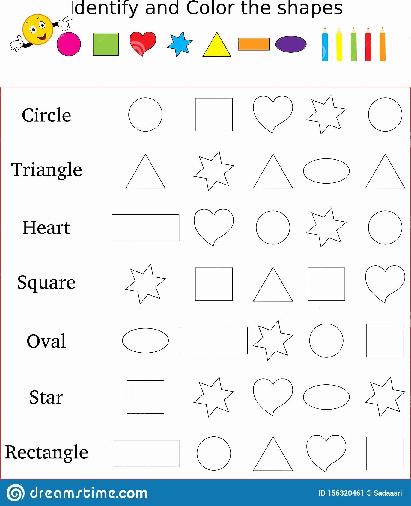 Colors and Shapes Worksheets for Preschoolers Fresh Identify and Color the Correct Shape Worksheet Stock Image