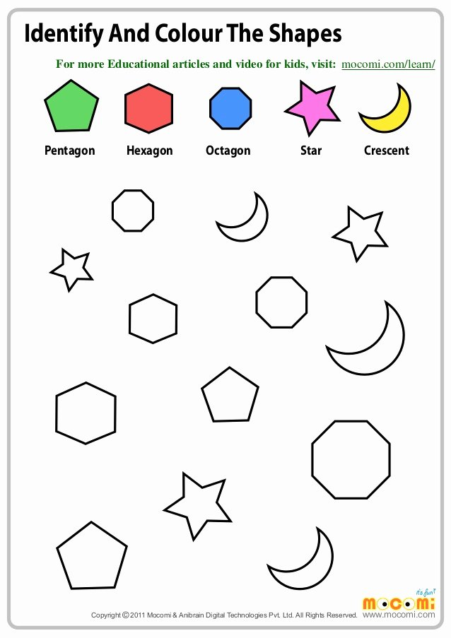 Colors and Shapes Worksheets for Preschoolers Inspirational Coloring Pages Identify and Colour the Shapes Maths