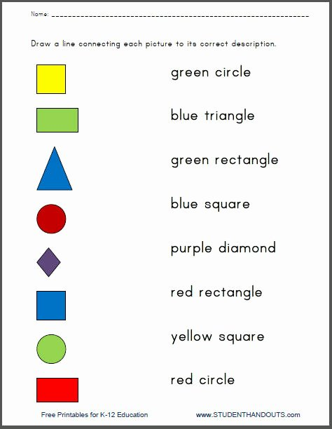 Colors and Shapes Worksheets for Preschoolers New Colors and Shapes Matching Worksheets