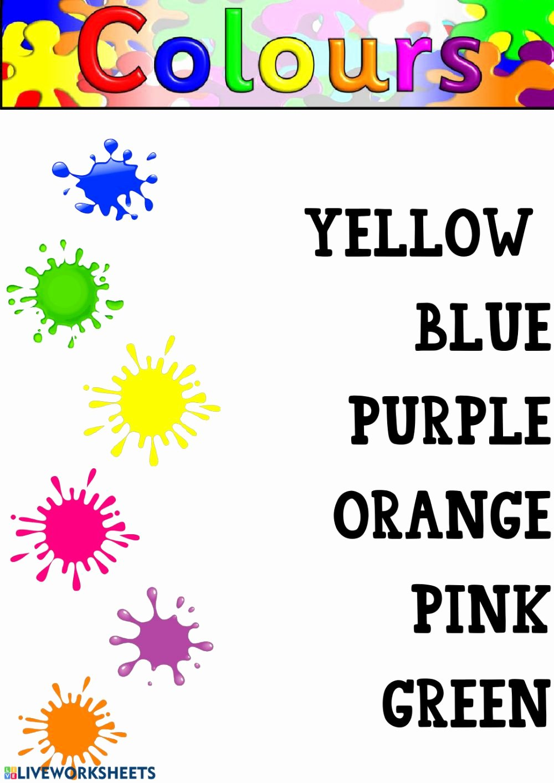 Colour Matching Worksheets for Preschoolers Beautiful Colours Kindergarten Interactive Worksheet