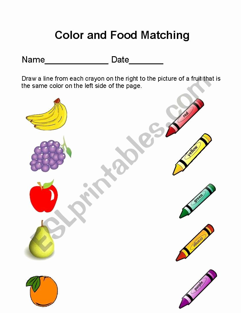Colour Matching Worksheets for Preschoolers Best Of Color and Food Matching Esl Worksheet by Yulibeca5