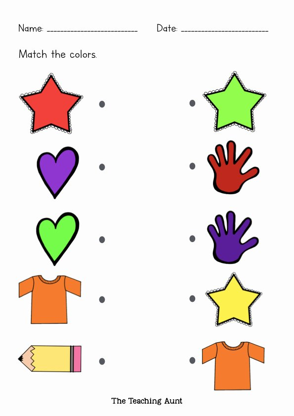 Colour Matching Worksheets for Preschoolers Best Of Free Matching Colors Worksheets the Teaching Aunt