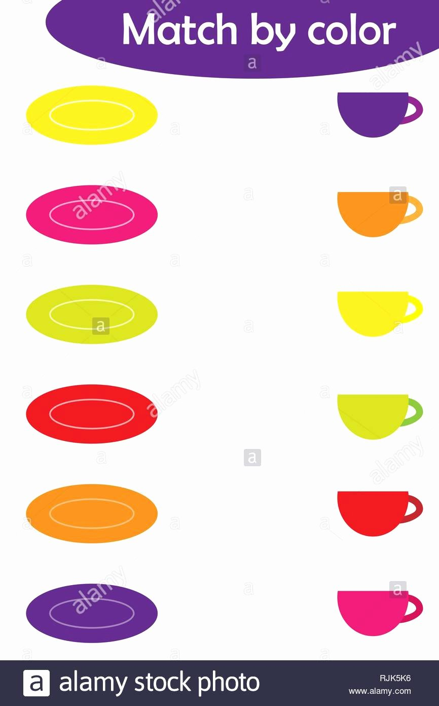 Colour Matching Worksheets for Preschoolers Lovely Matching Game for Children Connect Colorful Plates with