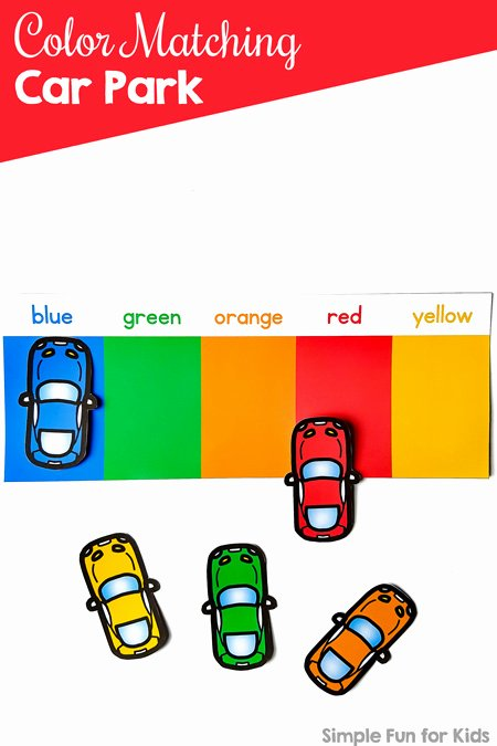 Colour Matching Worksheets for Preschoolers top Coloring Pages Color Matching Car Park Simple Fun for Kids