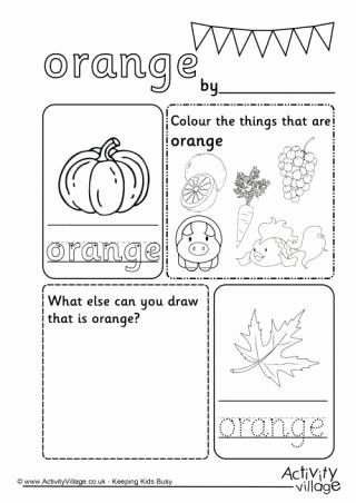 Colour Worksheets for Preschoolers Beautiful orange Colour Worksheet