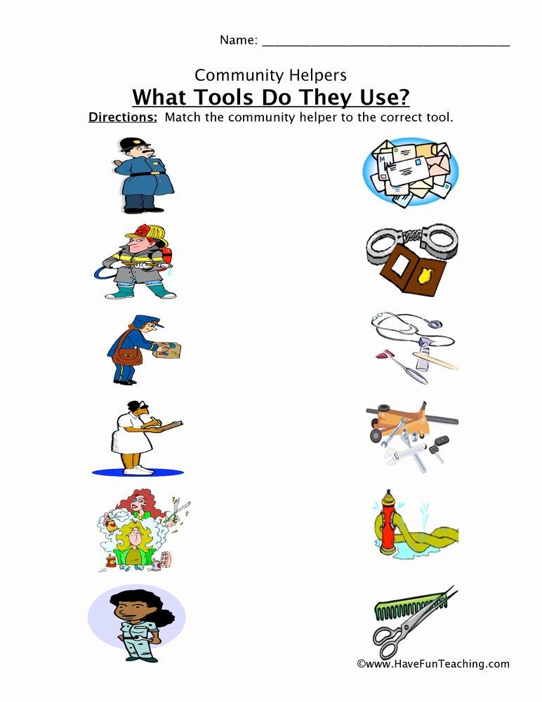 Community Helpers Worksheets for Preschoolers Fresh Munity Helper tools Matching Worksheet