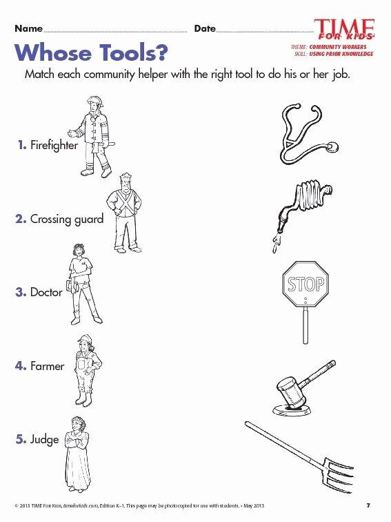 Community Helpers Worksheets for Preschoolers Unique Grade 1 Munity Helpers Worksheets