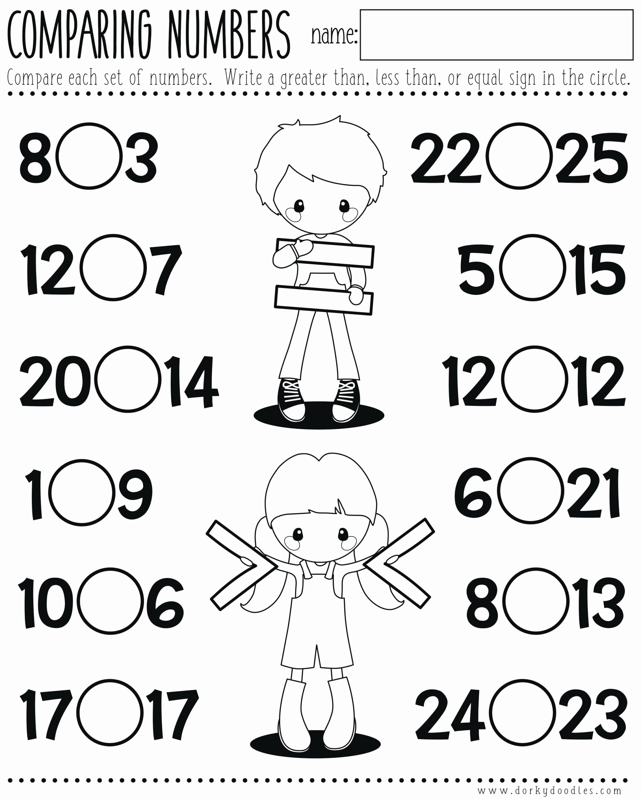 Concept Worksheets for Preschoolers Awesome Less Than Kindergarten Worksheets Printable and Same