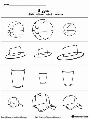Concept Worksheets for Preschoolers Inspirational Biggest Worksheet Identify the Biggest Object