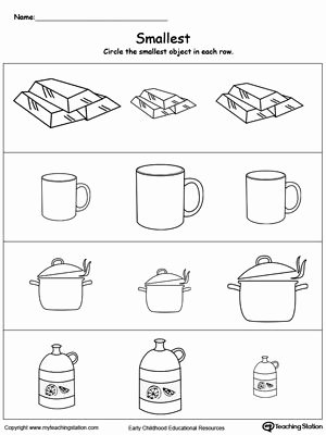 Concept Worksheets for Preschoolers top Smallest Worksheet Identify the Smallest Object