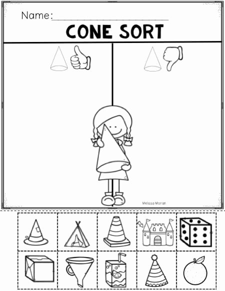 Cone Worksheets for Preschoolers Beautiful Cone Shapes Worksheets
