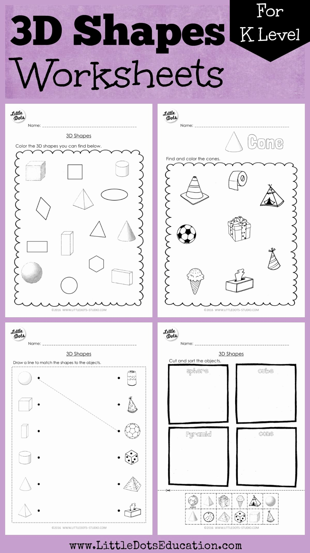 Cone Worksheets for Preschoolers Beautiful Kindergarten Math 3d Shapes Worksheets and Activities