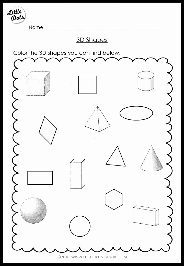 Cone Worksheets for Preschoolers Best Of Kindergarten Math 3d Shapes Worksheets and Activities