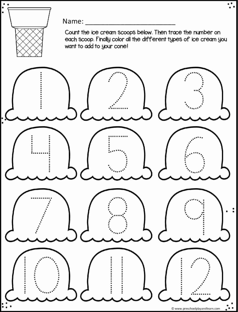 Cone Worksheets for Preschoolers Lovely Ice Cream Cone Trace Numbers 1 12 Summer Worksheets for