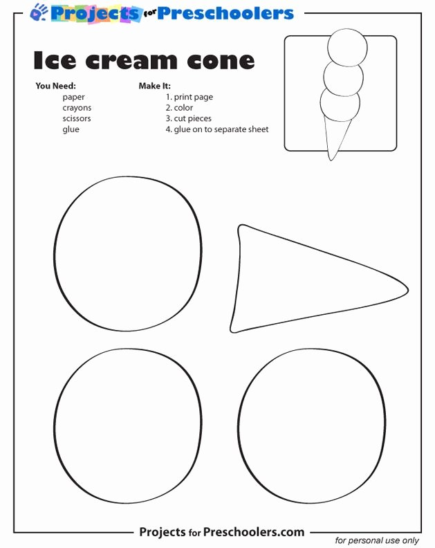 Cone Worksheets for Preschoolers Unique Shapes Ice Cream Cone Printable