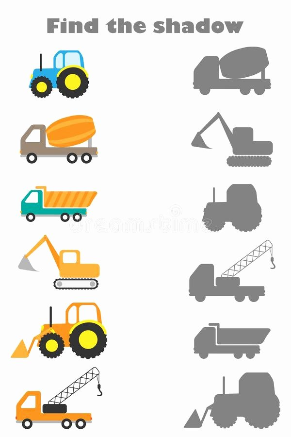 Construction Worksheets for Preschoolers Beautiful Find the Shadow Game with Construction Transport