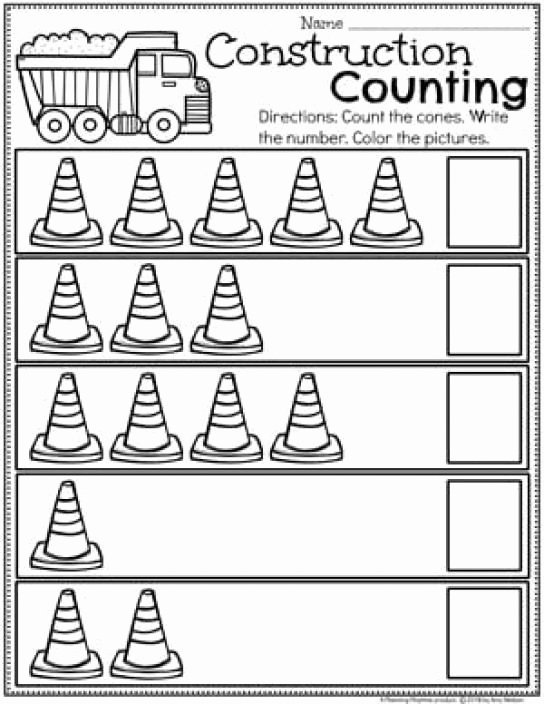 Construction Worksheets for Preschoolers New Preschool Construction theme Worksheets Counting