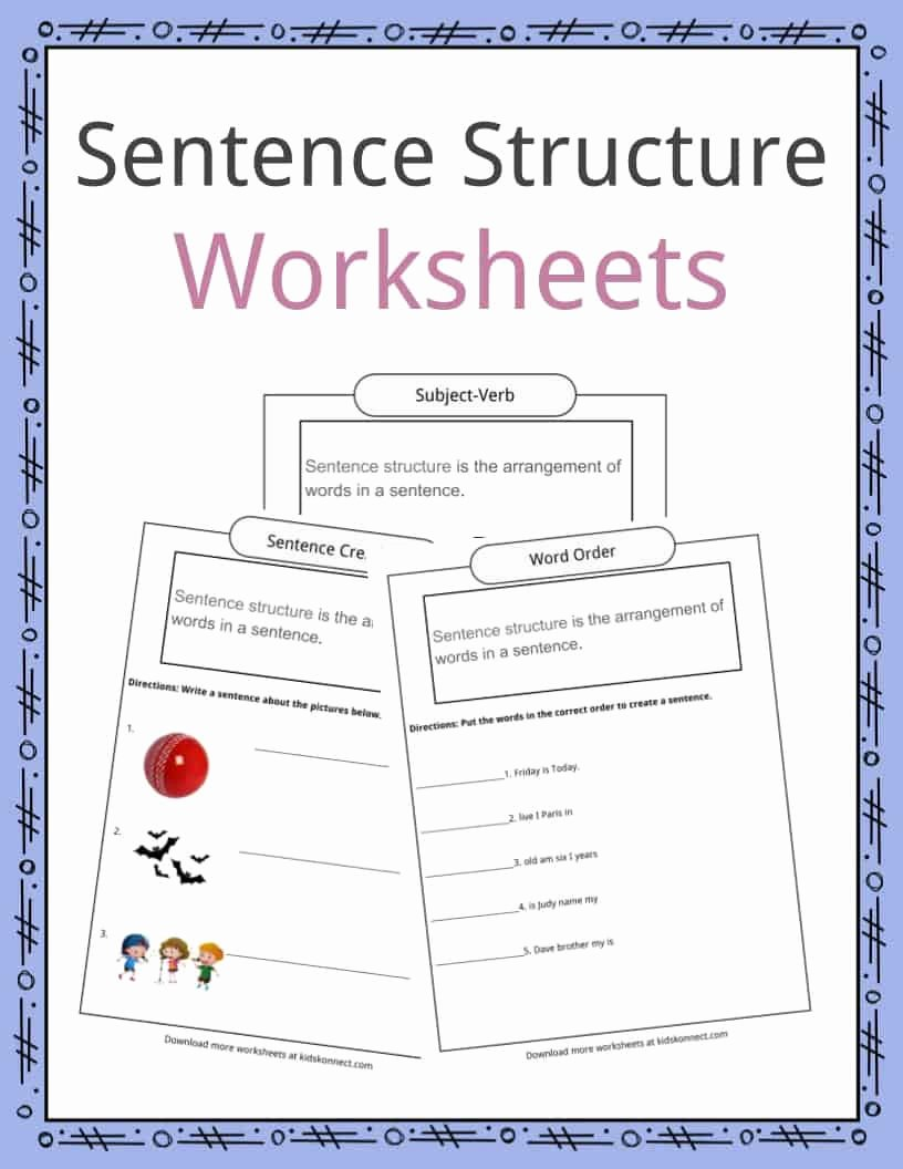 Construction Worksheets for Preschoolers New Sentence Structure Worksheets Examples Definition for Kids