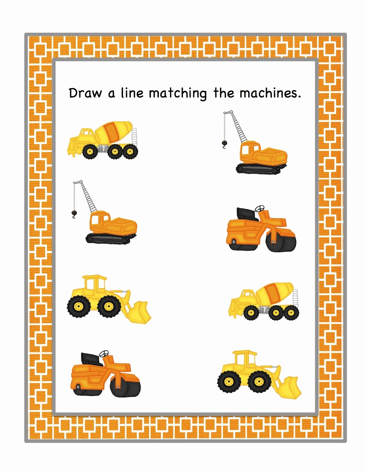 Construction Worksheets for Preschoolers top Preschool Printables Construction Machines Printable