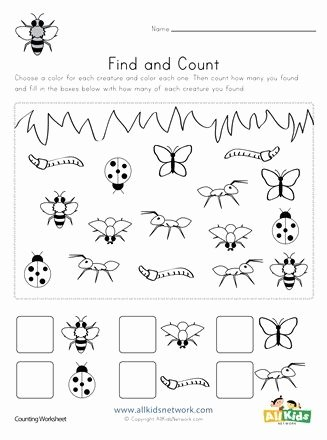 Counting Bugs Worksheets for Preschoolers Beautiful Bug Find and Count Worksheets All Kids Network