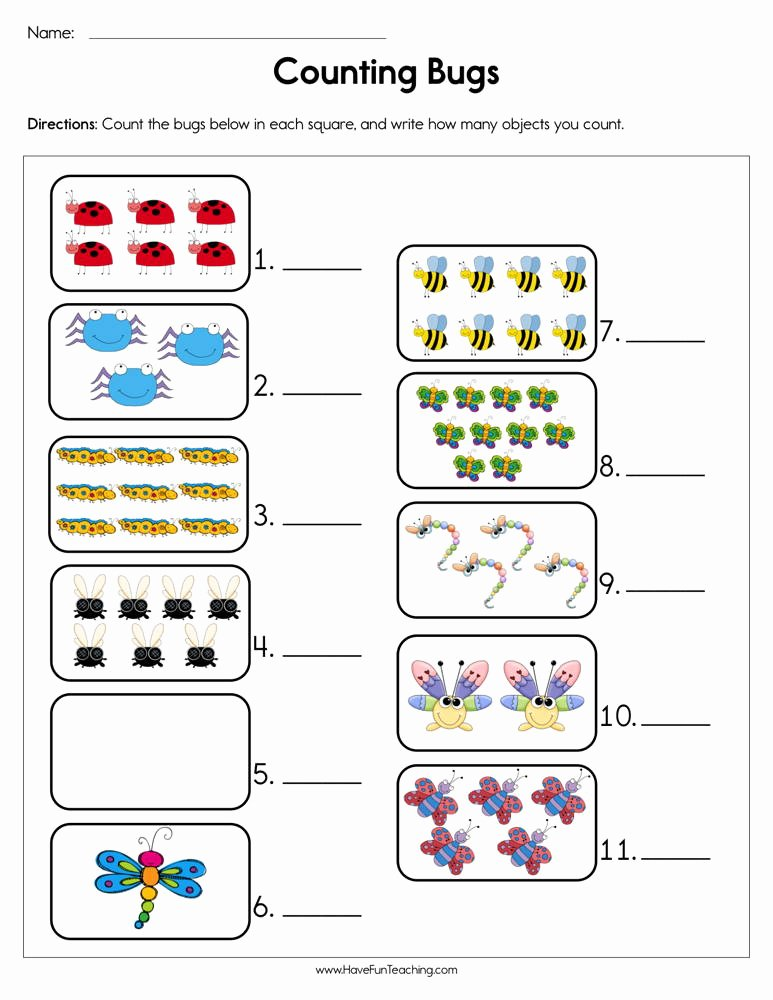 Counting Bugs Worksheets for Preschoolers Best Of Counting Bugs Worksheet