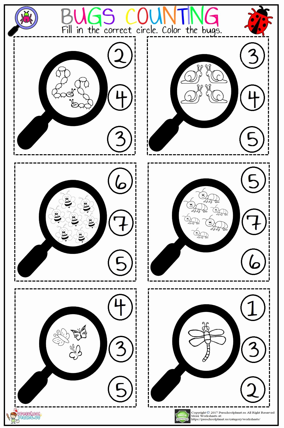 Counting Bugs Worksheets for Preschoolers Fresh Bugs Counting Worksheet – Preschoolplanet