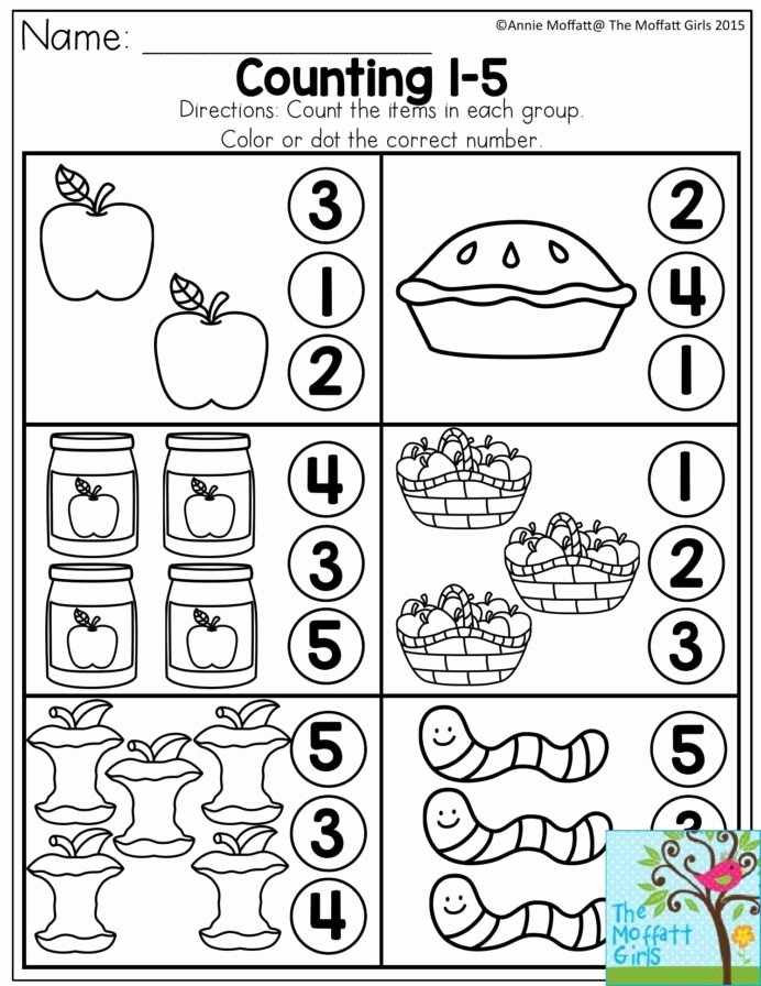 Counting Worksheets for Preschoolers Beautiful Counting Count the Items In Each Group and Dot Color