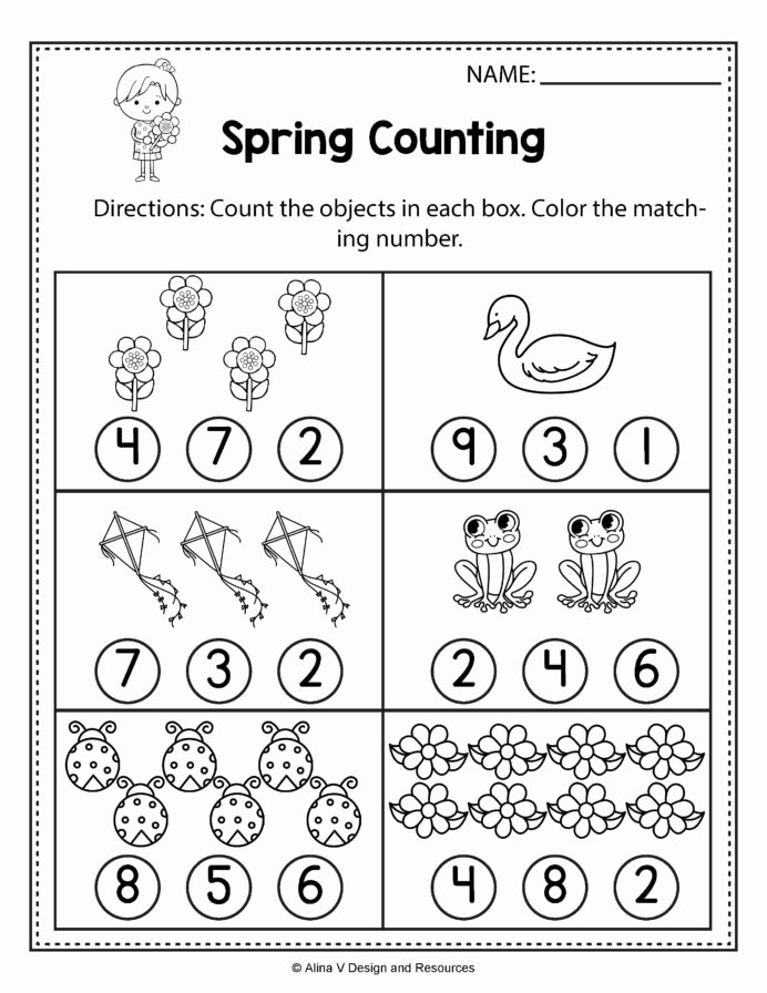 Counting Worksheets for Preschoolers Beautiful Spring Counting Math Worksheets and Printable Number