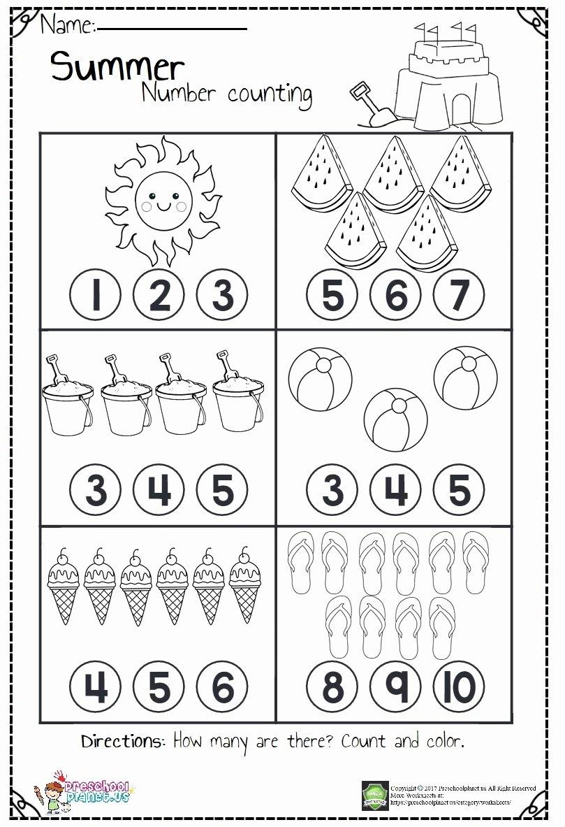 Counting Worksheets for Preschoolers Inspirational Summer Number Count Worksheet