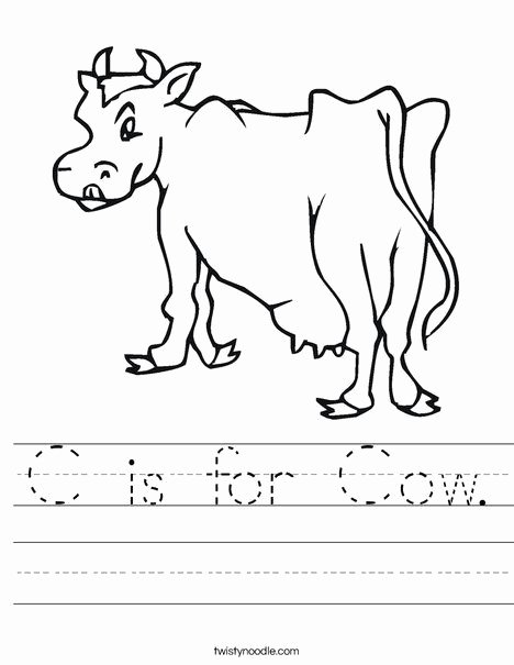 Cow Worksheets for Preschoolers Beautiful C is for Cow Worksheet