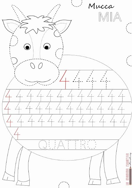 Cow Worksheets for Preschoolers Fresh Cow Number 4 Trace Worksheet