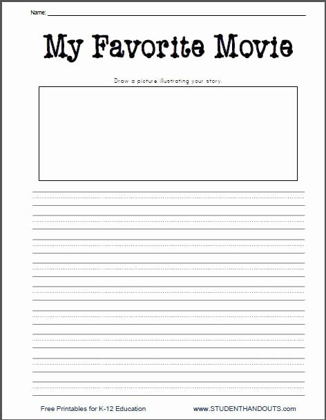 Creative Worksheets for Preschoolers Inspirational My Favorite Movie Free Printable Writing Prompt Worksheet