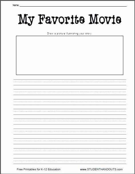 Creative Worksheets for Preschoolers Inspirational My Favorite Movie Free Printable Writing Prompt Worksheet