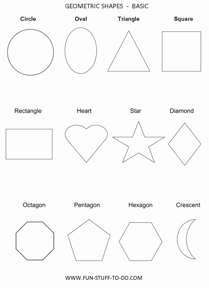 Crescent Shape Worksheets for Preschoolers Awesome Geometric Shapes Worksheets with Elementary Fraction