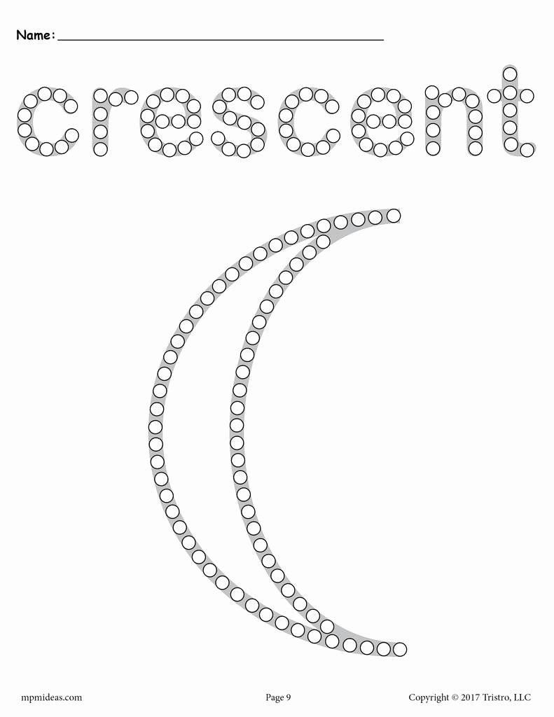 Crescent Shape Worksheets for Preschoolers Fresh Crescent Q Tip Painting Printable