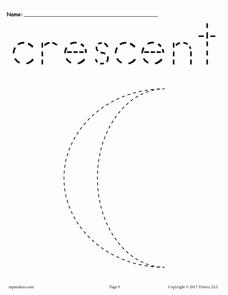 Crescent Shape Worksheets for Preschoolers Fresh Crescent Tracing Worksheet