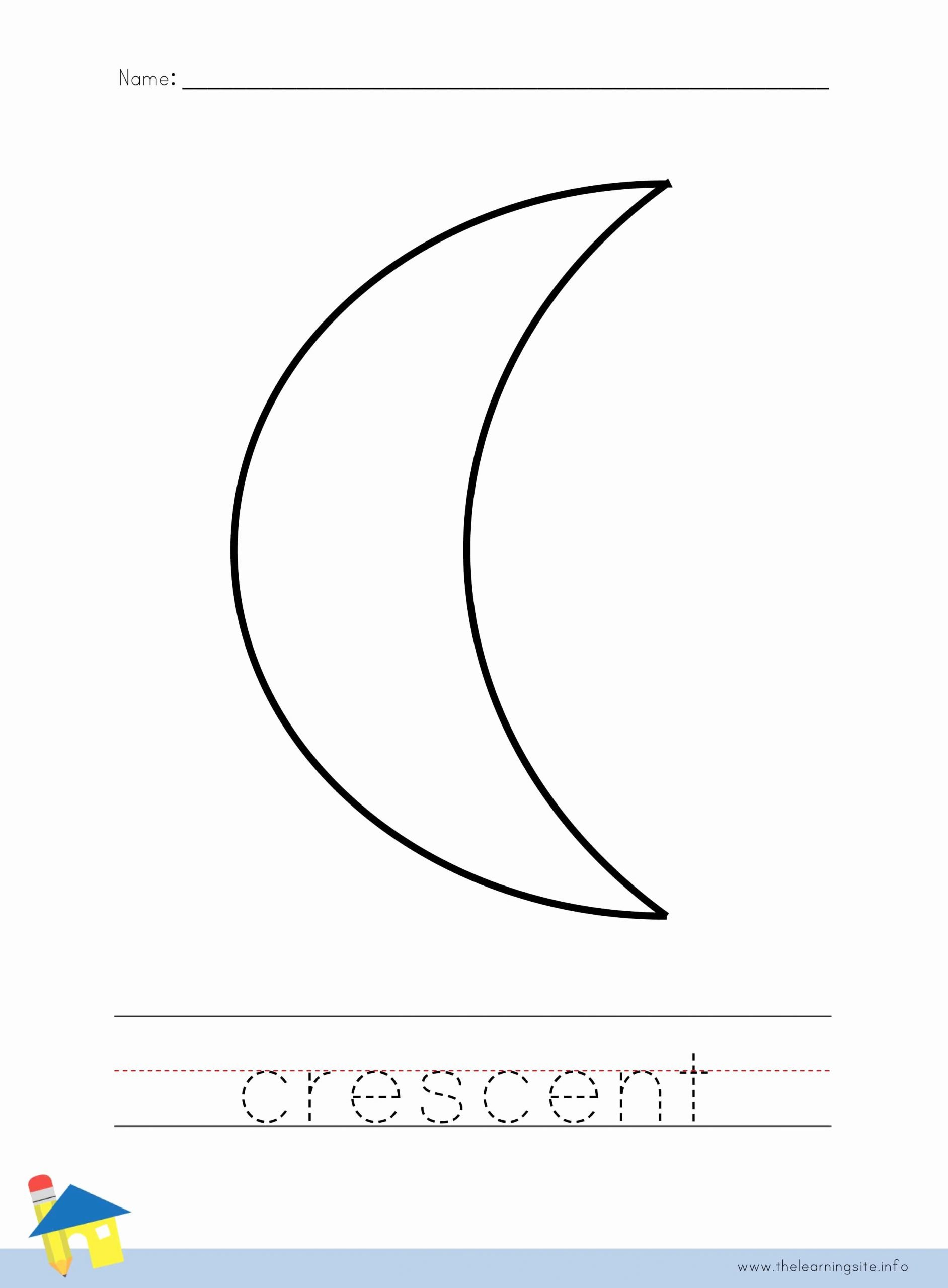 Crescent Shape Worksheets for Preschoolers Fresh the Learning Site