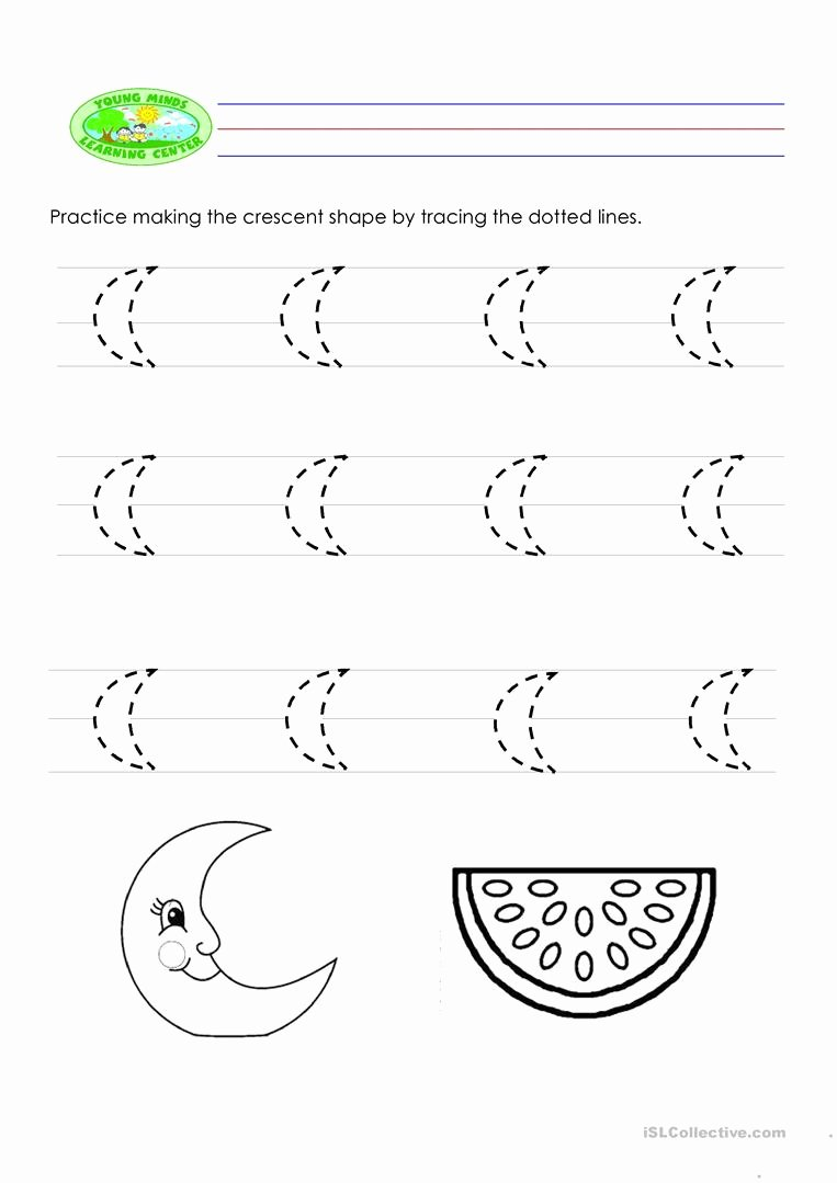 Crescent Shape Worksheets for Preschoolers Lovely Tracing English Esl Worksheets for Distance Learning and