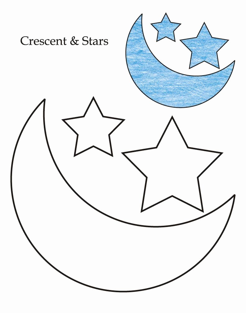 Crescent Shape Worksheets for Preschoolers top 0 Level Crescent and Stars Coloring Page