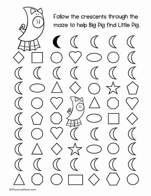 Crescent Shape Worksheets for Preschoolers top Shapes Archives Preschool Mom