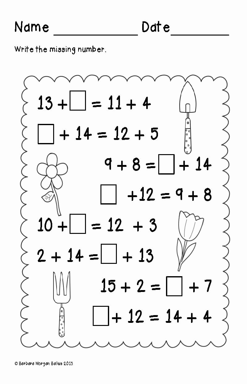 Critical Thinking Worksheets for Preschoolers Fresh First Grade Math Spring Balancing Equations Addition Oa