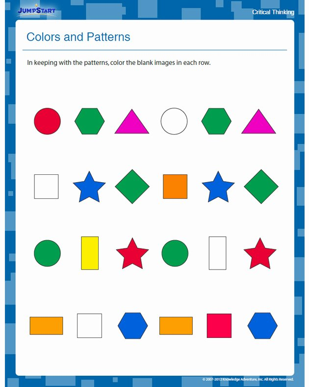 Critical Thinking Worksheets for Preschoolers Inspirational Colors and Patterns View Free Critical Thinking Worksheet