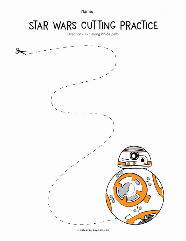 Cutting Practice Worksheets for Preschoolers Awesome Star Wars Cutting Practice Worksheets for Early Learners