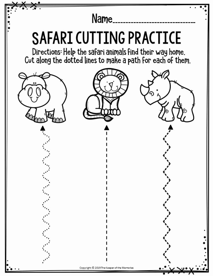 Cutting Practice Worksheets for Preschoolers Beautiful Preschool Worksheets Safari Cutting Practice the Keeper Of