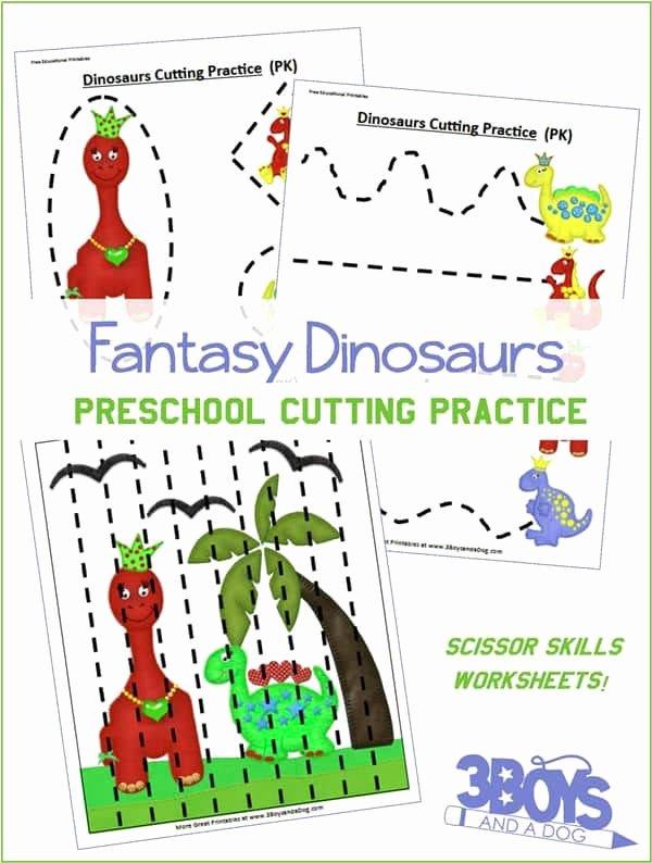 Cutting Practice Worksheets for Preschoolers Fresh Preschool Cutting Practice Dinosaurs Worksheets – 3 Boys