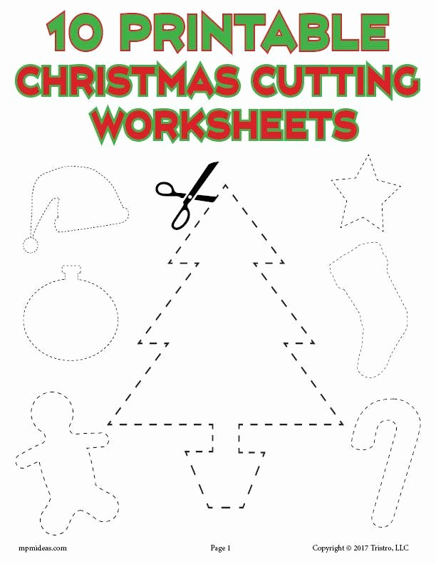 Cutting Shapes Worksheets for Preschoolers Best Of 10 Printable Christmas Shapes Cutting Worksheets