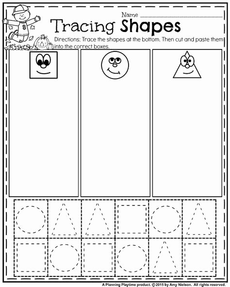 Cutting Shapes Worksheets for Preschoolers Lovely Cut and Paste Shapes